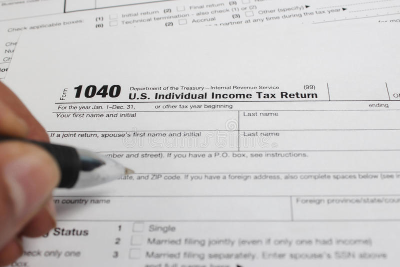Us Tax Form 1040 On Table Editorial Photography Image Of April