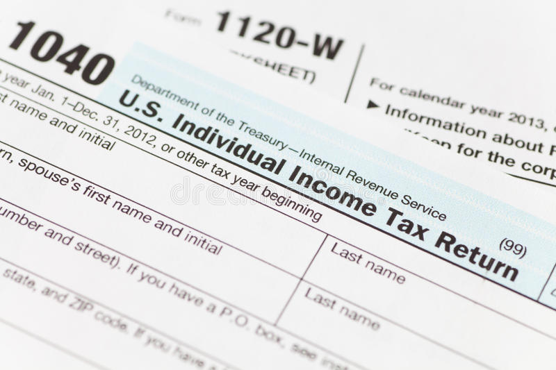 US Tax income form royalty free stock photography