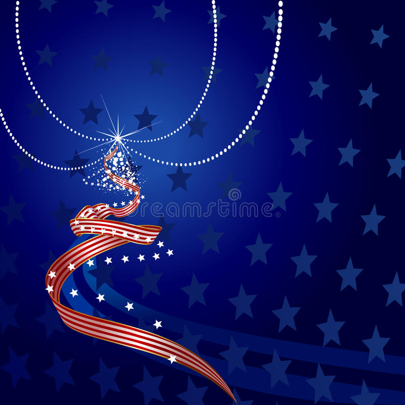 US Themed Christmas Tree vector illustration