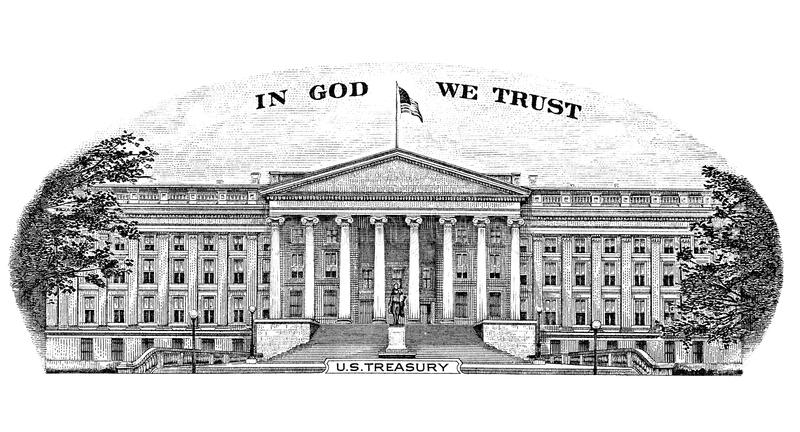 US Treasury. Gravure US Treasury In God We Trust from the back of a Ten dollar bill stock photography