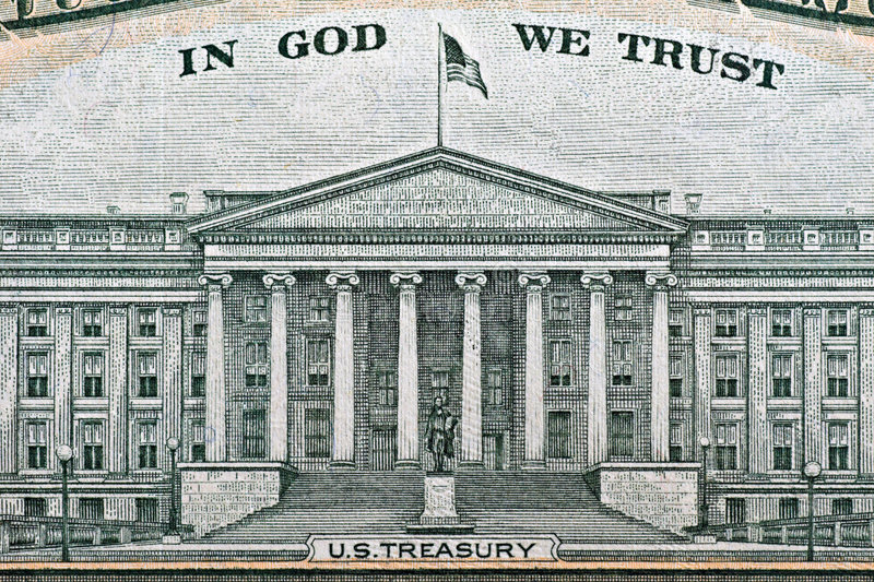 US Treasury. Building from a ten dollar bill royalty free stock photo