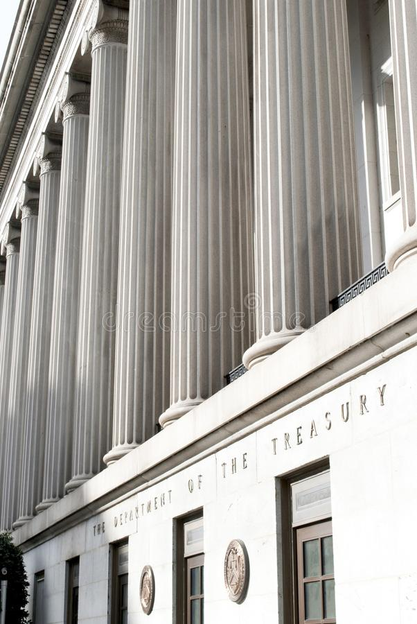 US Treasury. Ionic columns at the Department of the Treasury building in Washington DC stock photography