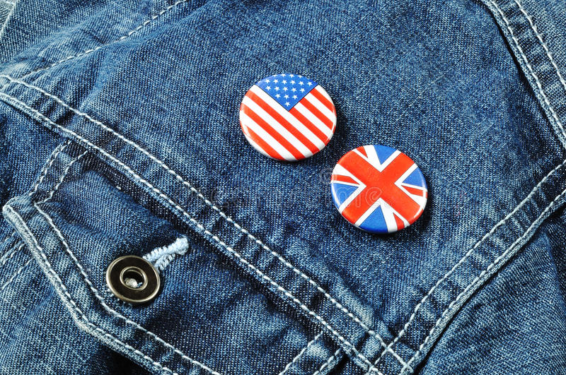 Download US And UK Buttons On A Denim Jacket Stock Image - Image of textile, indoors: 16445709