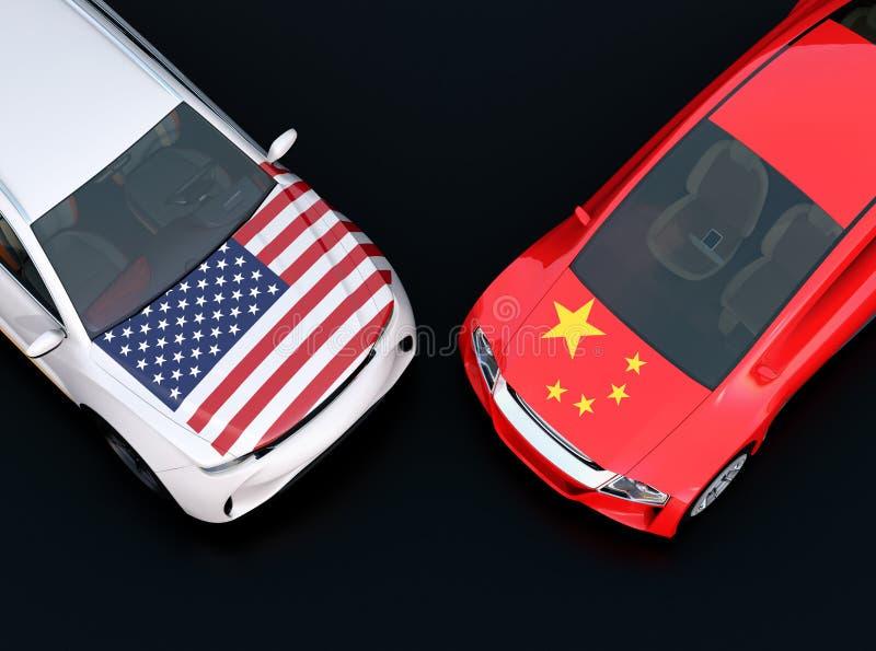 US- und China-Flaggen auf der Haube mit zwei Automobilen lizenzfreie abbildung