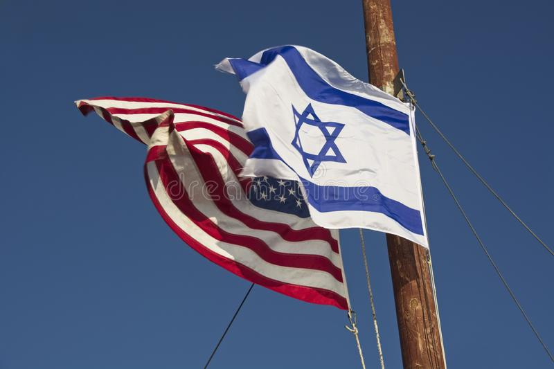 US und Israel Flags Together stockfotografie