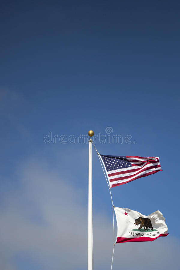 US- und Kalifornien-Art der Flagge stockfotografie