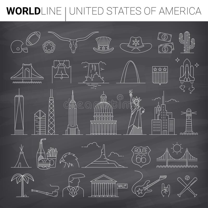 US Vector Line Icons. United States cultural icons in thin line vector illustrations stock illustration
