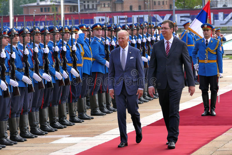 US Vice President Joseph 'Joe' Biden begins official visit to Belgrade. Belgrade, Serbia. 16th August, 2016. US Vice President Joseph 'Joe' Biden begins official royalty free stock image