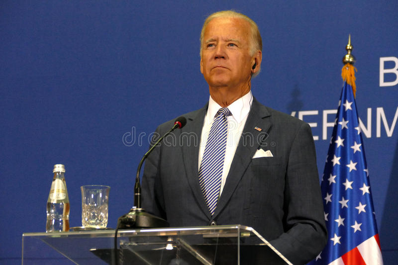 US Vice President Joseph 'Joe' Biden and Serbian PM Aleksandar Vucic stock image