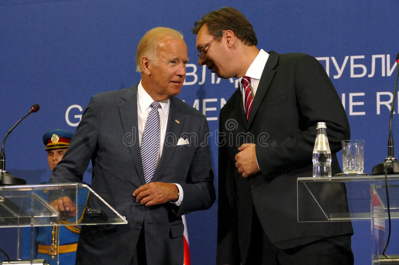 US Vice President Joseph 'Joe' Biden and Serbian PM Aleksandar Vucic. Belgrade, Serbia. 16th August, 2016. US Vice President Joseph 'Joe' Biden and Serbian PM stock photos