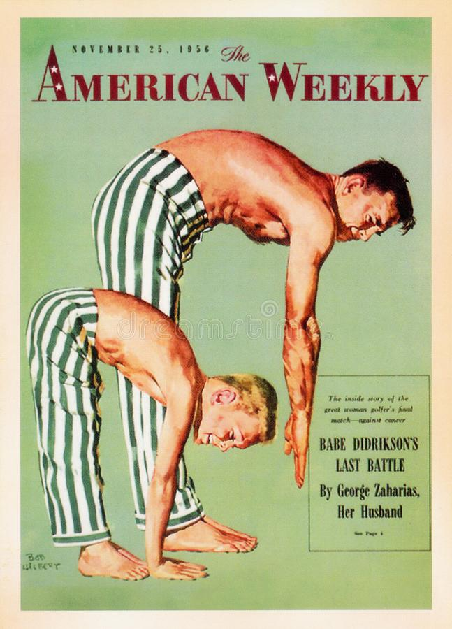 US Vintage Poster card. Printed during 50s - Showing up - The American Weekly stock photography