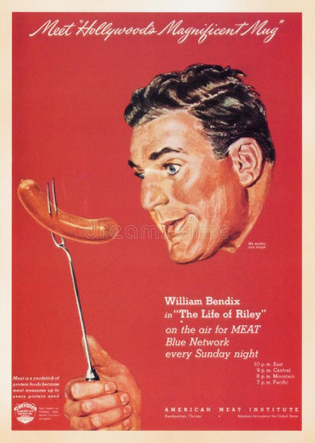 US Vintage Poster card. Printed during World War â…¡. - American Meat Institute - William Bendix stock photography