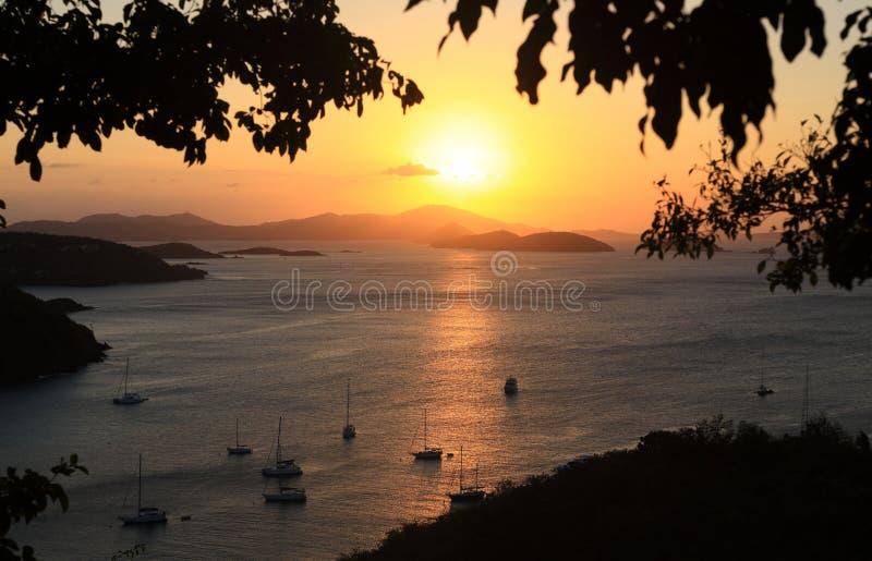 US Virgin Islands. Sunset over Paradise-like US Virgin Islands royalty free stock photo