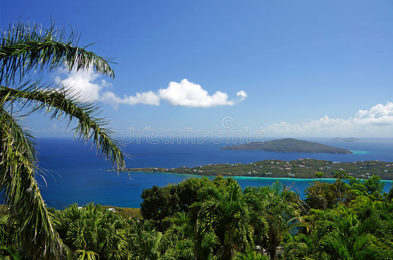 US Virgin Islands. Scenic view of the blue water and islands of the US Virgin Islands stock photos