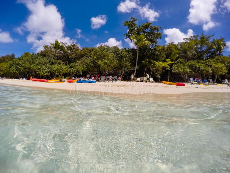 US Virgin Islands, USA – 2019. Tourists on honeymoon Beach in St John - US Virgin Islands stock images