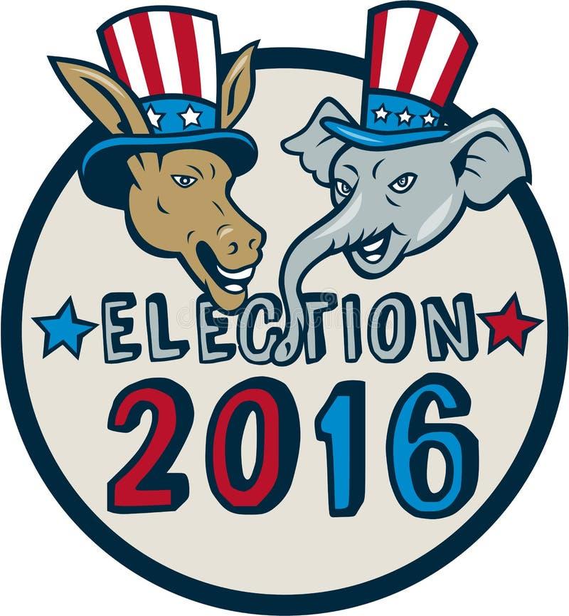 US-Wahl-Maskottchen-Esel-Elefant-Kreis-Karikatur 2016 lizenzfreie abbildung