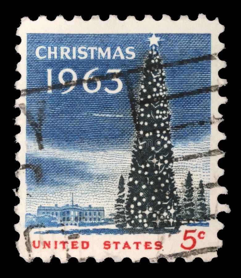 US-Weihnachtsstempel zeigt das Weiße Haus und den nationalen Weihnachtsbaum im Washington DC lizenzfreie stockfotografie