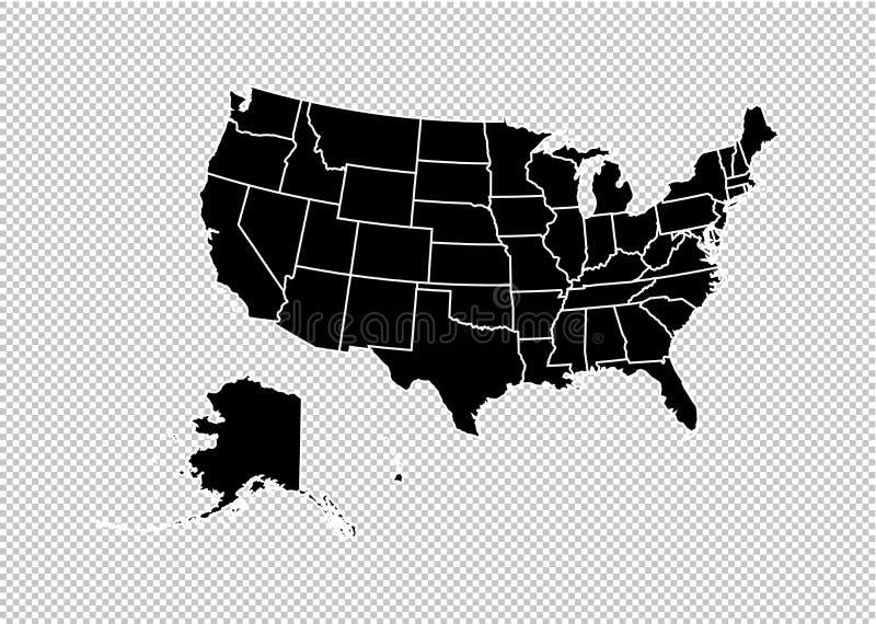 USA-översikt - detaljerad svart översikt för höjdpunkt med län/regioner/tillstånd av den eniga staten av Amerika oss att kartlägg stock illustrationer