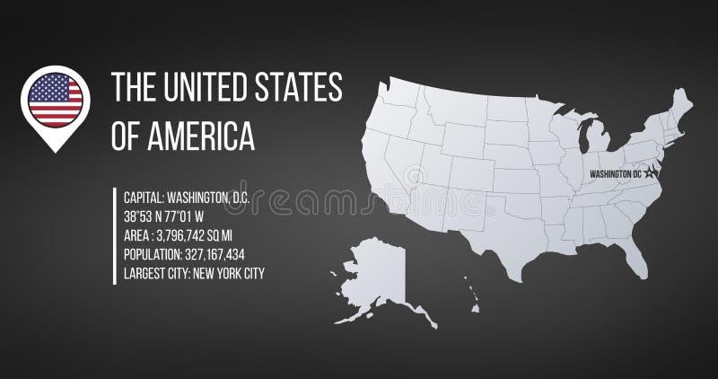 USA-översikt med allmän information och flagga i översiktsstiftet Infographics design Infographic mall Isolerad vektorillustratio vektor illustrationer