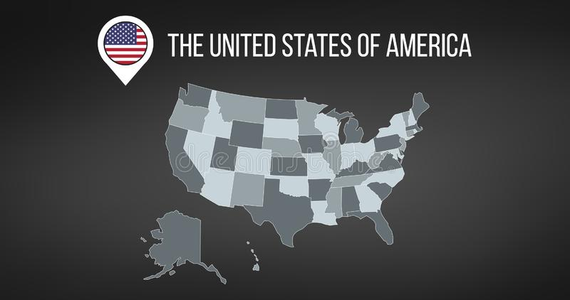 USA-översikt med allmän information och flagga i översiktsstiftet Infographics design Infographic mall Isolerad vektorillustratio stock illustrationer