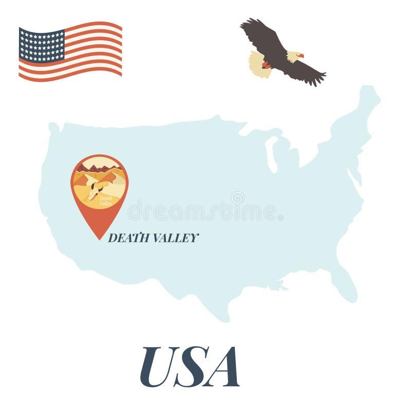 USA översikt med Death Valley Pin Travel Concept vektor illustrationer