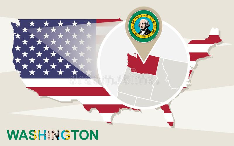 USA översikt med förstorade Washington State Washington flagga och översikt vektor illustrationer