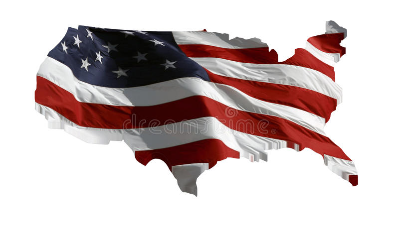 USA-översikt och USA-flagga i 3D royaltyfri illustrationer