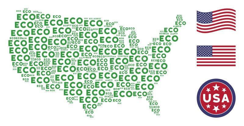 USA översiktscollage av Eco text royaltyfri illustrationer