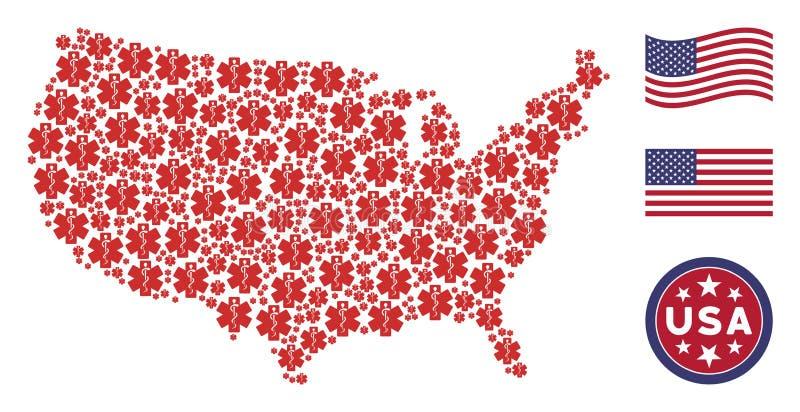 USA översiktsmosaik av livstjärnan royaltyfri illustrationer