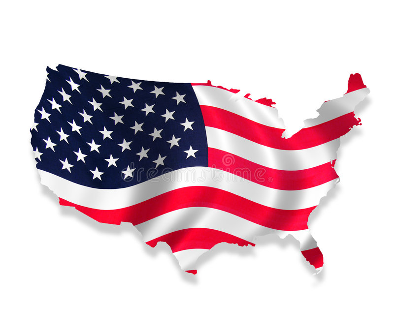 USA. An illustration of the US with a flag overlay stock photo