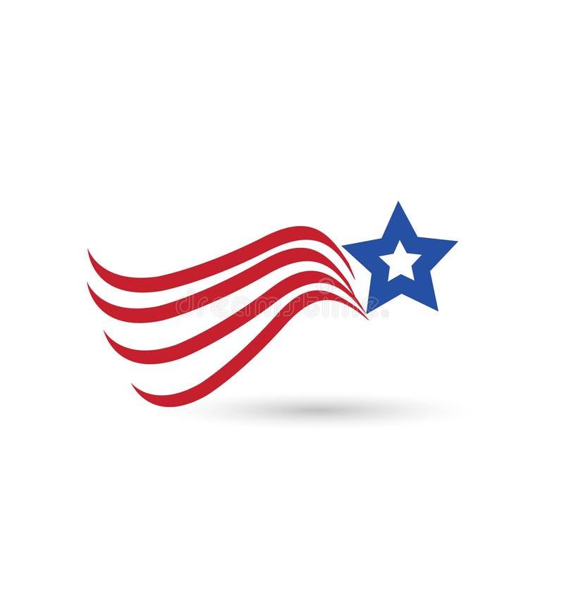 USA abstract flag star symbol vector illustration
