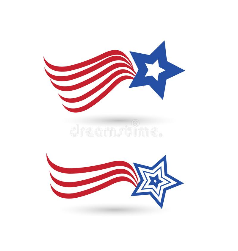 USA abstract flag star symbol stock illustration