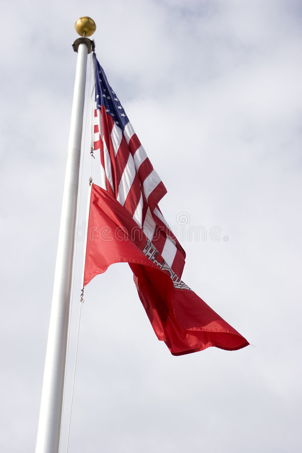 USA and ACE Flags royalty free stock photo
