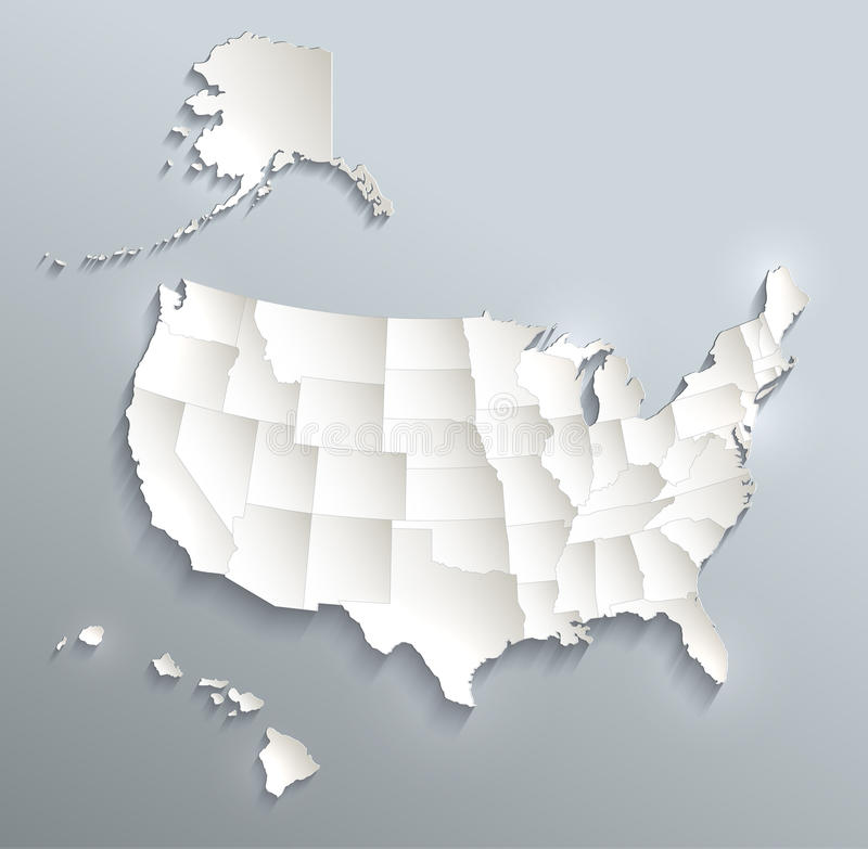 download usa with alaska and hawaii map blue white card paper 3d stock vector illustration
