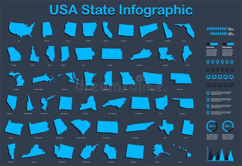 USA alle Zustands-Karte mit Satz Infographic-Elementen in der blauen Farbe im dunklen Hintergrund vektor abbildung