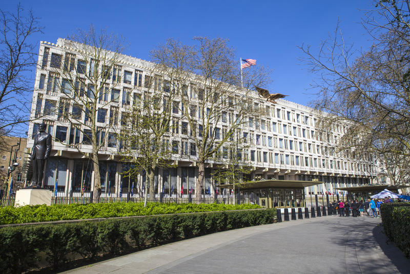 USA ambasada w Londyn obrazy royalty free