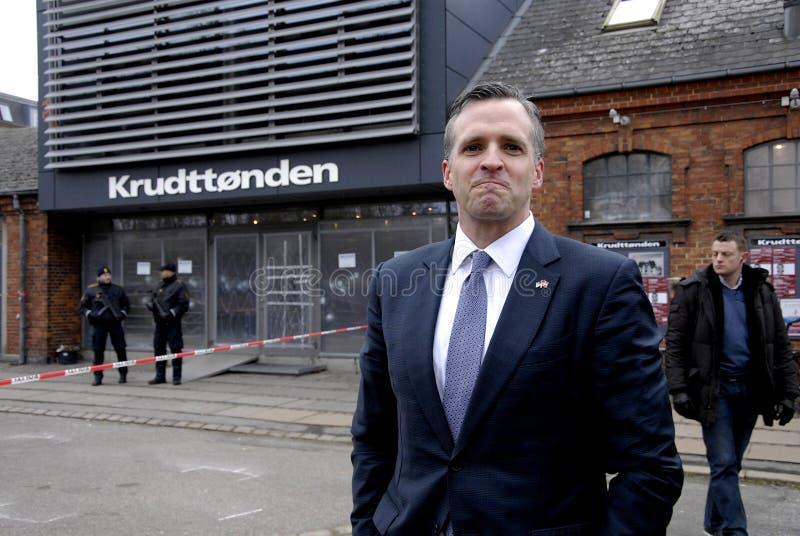 USA AMBASSAOR RUFUS GIFFORD. Copenhagen-Denamrk _USA Ambassador in Denmark Rufus Gifford visit the place Krudttonder cafe where firsrg short was fired Terror in royalty free stock image