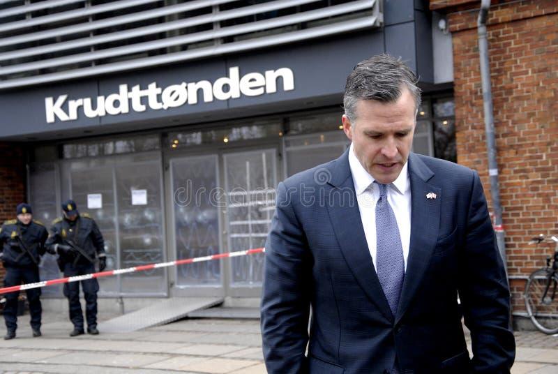 USA AMBASSAOR RUFUS GIFFORD. Copenhagen-Denamrk _USA Ambassador in Denmark Rufus Gifford visit the place Krudttonder cafe where firsrg short was fired Terror in stock images