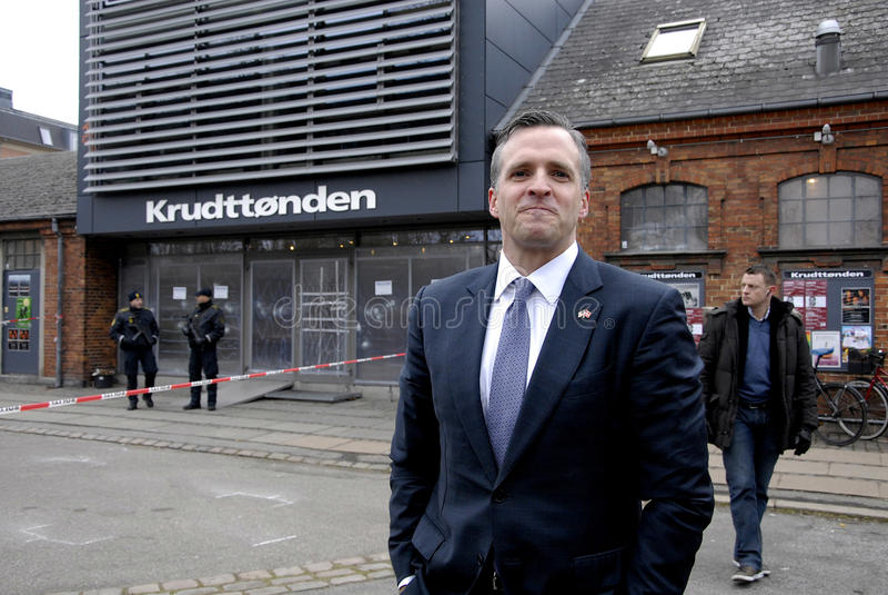 USA AMBASSAOR RUFUS GIFFORD. Copenhagen-Denamrk _USA Ambassador in Denmark Rufus Gifford visit the place Krudttonder cafe where firsrg short was fired Terror in stock photos