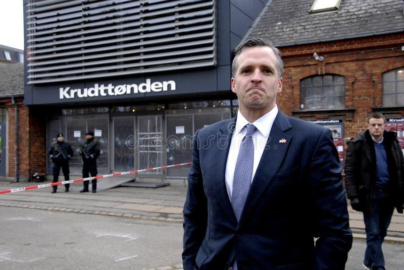 USA AMBASSAOR RUFUS GIFFORD. Copenhagen-Denamrk _USA Ambassador in Denmark Rufus Gifford visit the place Krudttonder cafe where firsrg short was fired Terror in royalty free stock images