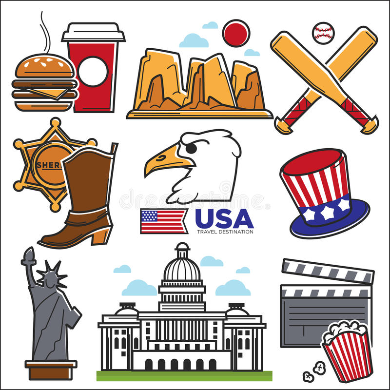 Usa america culture and amercian travel landmarks icons for American cuisine movie download