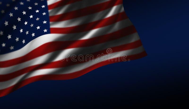 USA or America flag design at night royalty free illustration