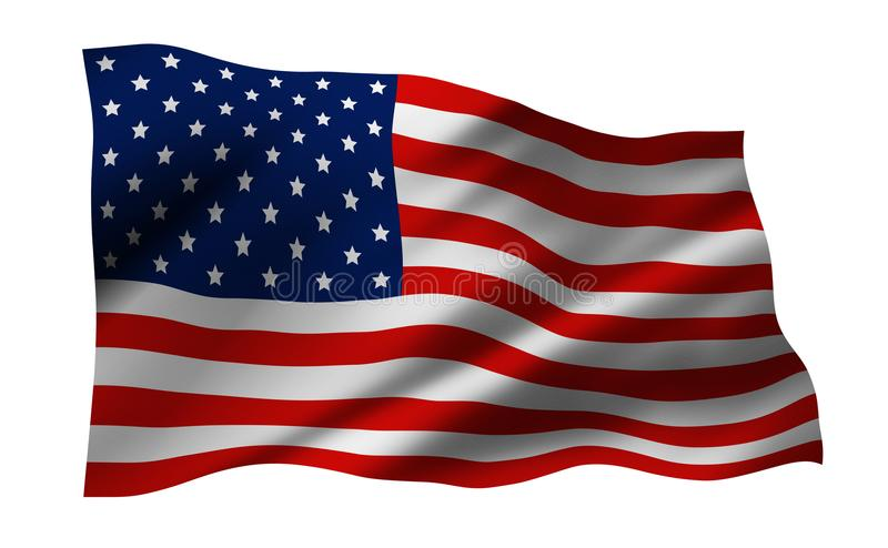 USA or America flag isolated on white background vector illustration