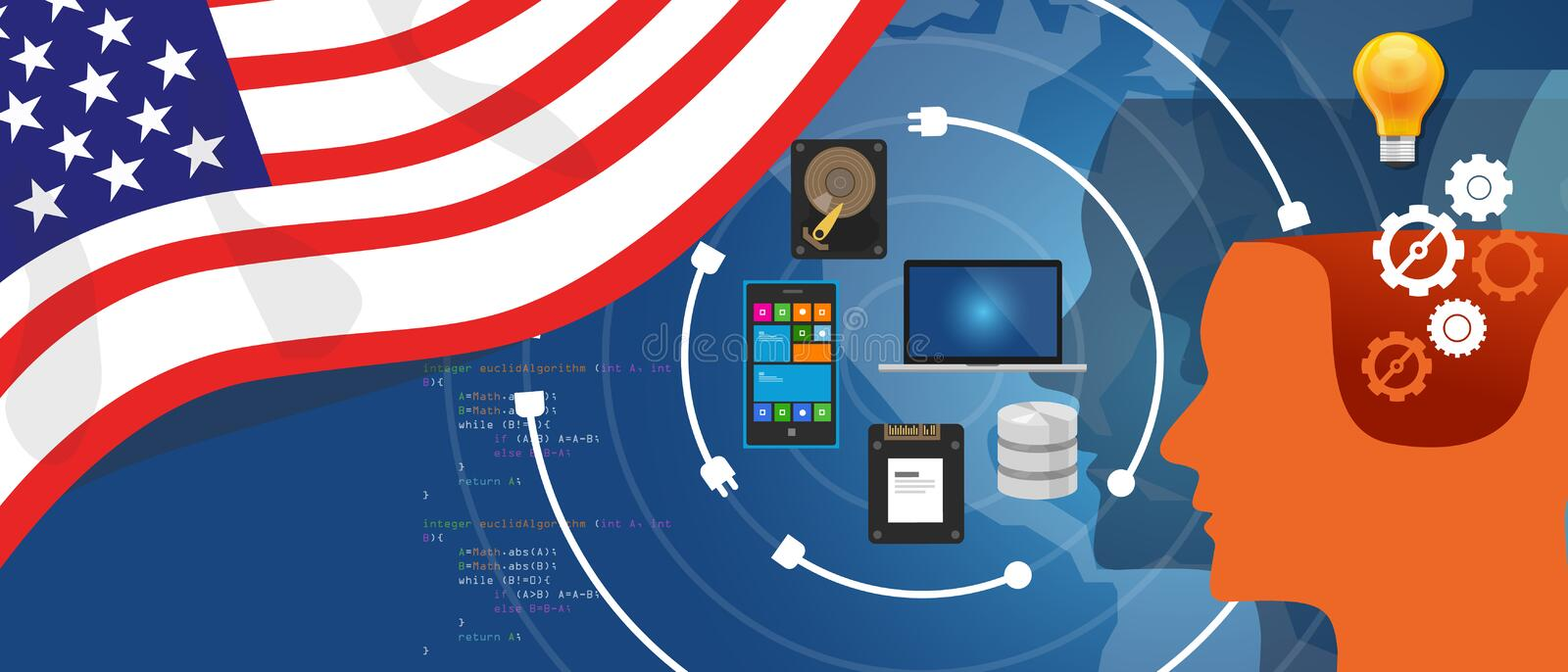USA America IT information technology digital infrastructure connecting business data via internet network. Using computer software an electronic innovation vector illustration
