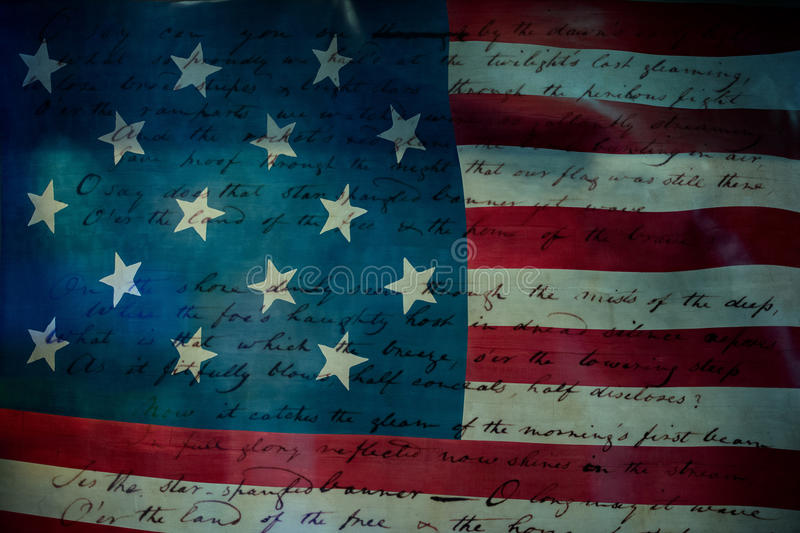 Usa America national anthem Star Spangled Banner. Original paper hand written on star and stripes flag background royalty free stock images