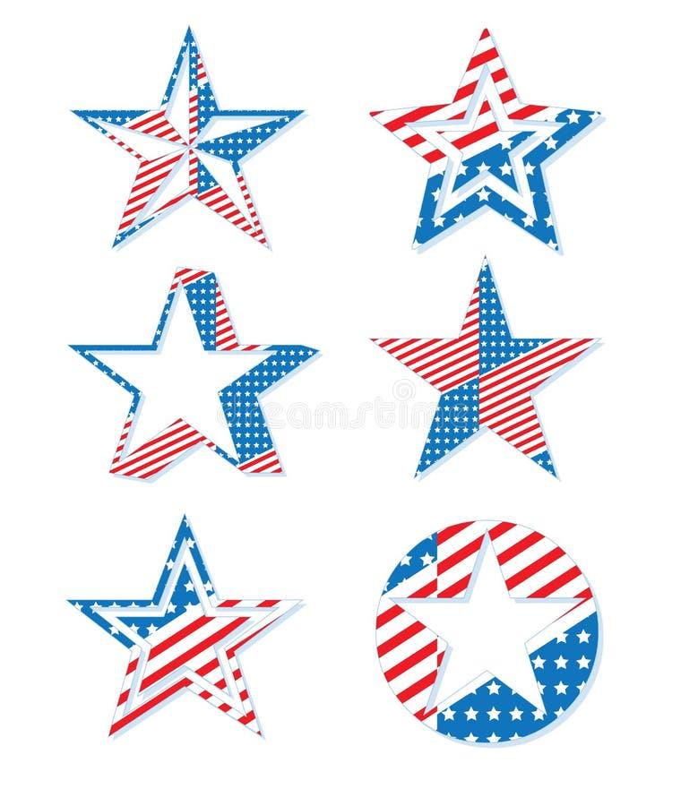 USA America Patriotic Holiday Celebration Stars Symbol Set. USA America Patriotic Holiday Freedom Celebration Stars Symbol Set royalty free illustration