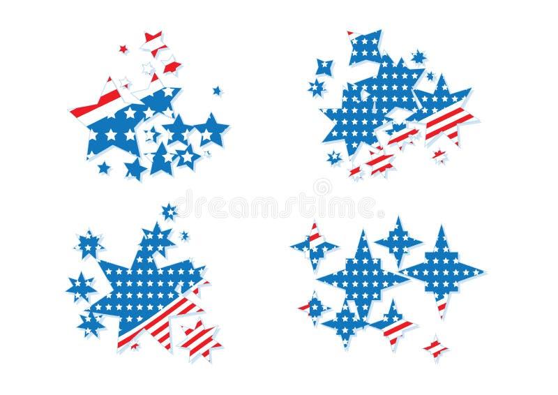 USA America Patriotic Stars Symbol Concept Collection. USA America Patriotic Stars And Stripe Symbol Concept Collection vector illustration