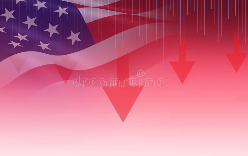 USA. America stock market crisis red price arrow down chart fall stock photography