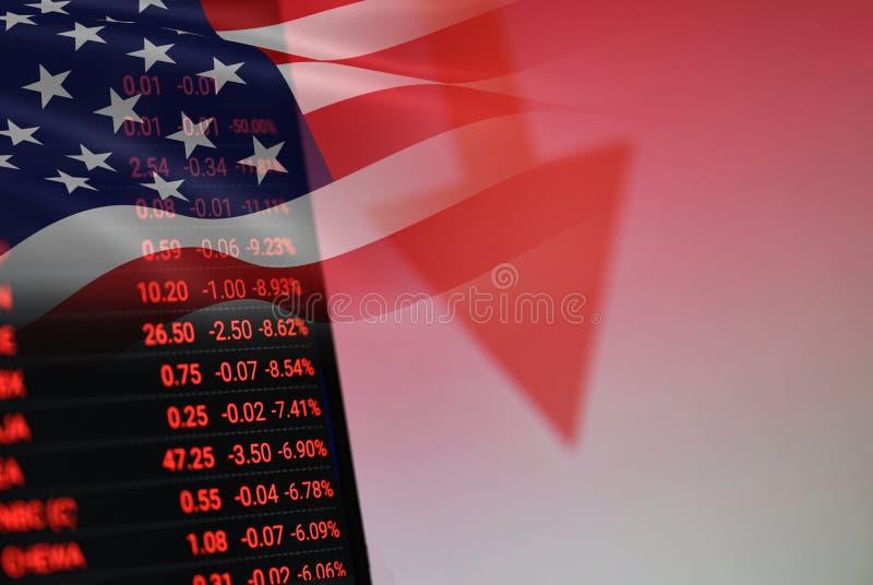 USA. America stock market crisis red price arrow down chart fall stock image