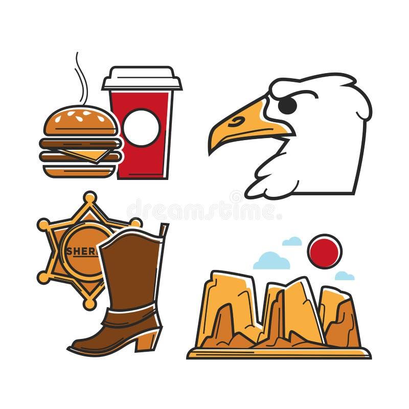 Usa America Tourism Travel And American Culture Vector Symbols Set